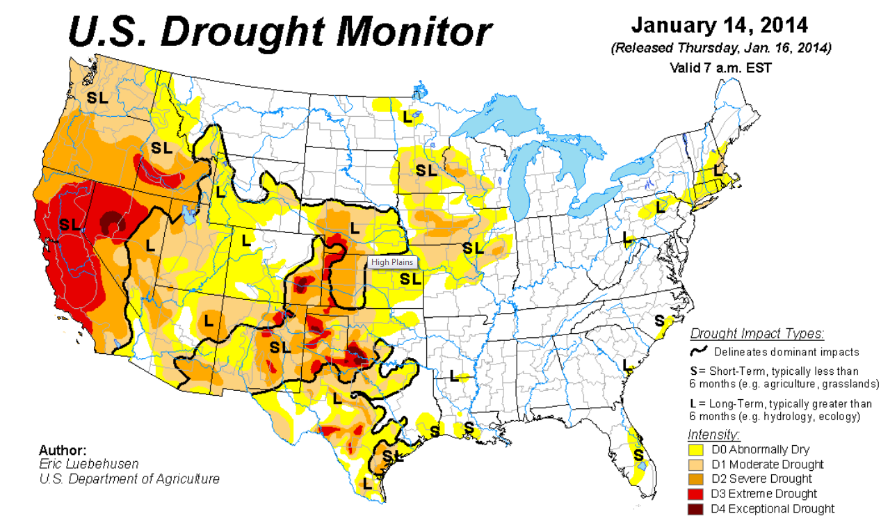 Droughts In Western US Persist While East Remains In Good Shape - Us agriculture map