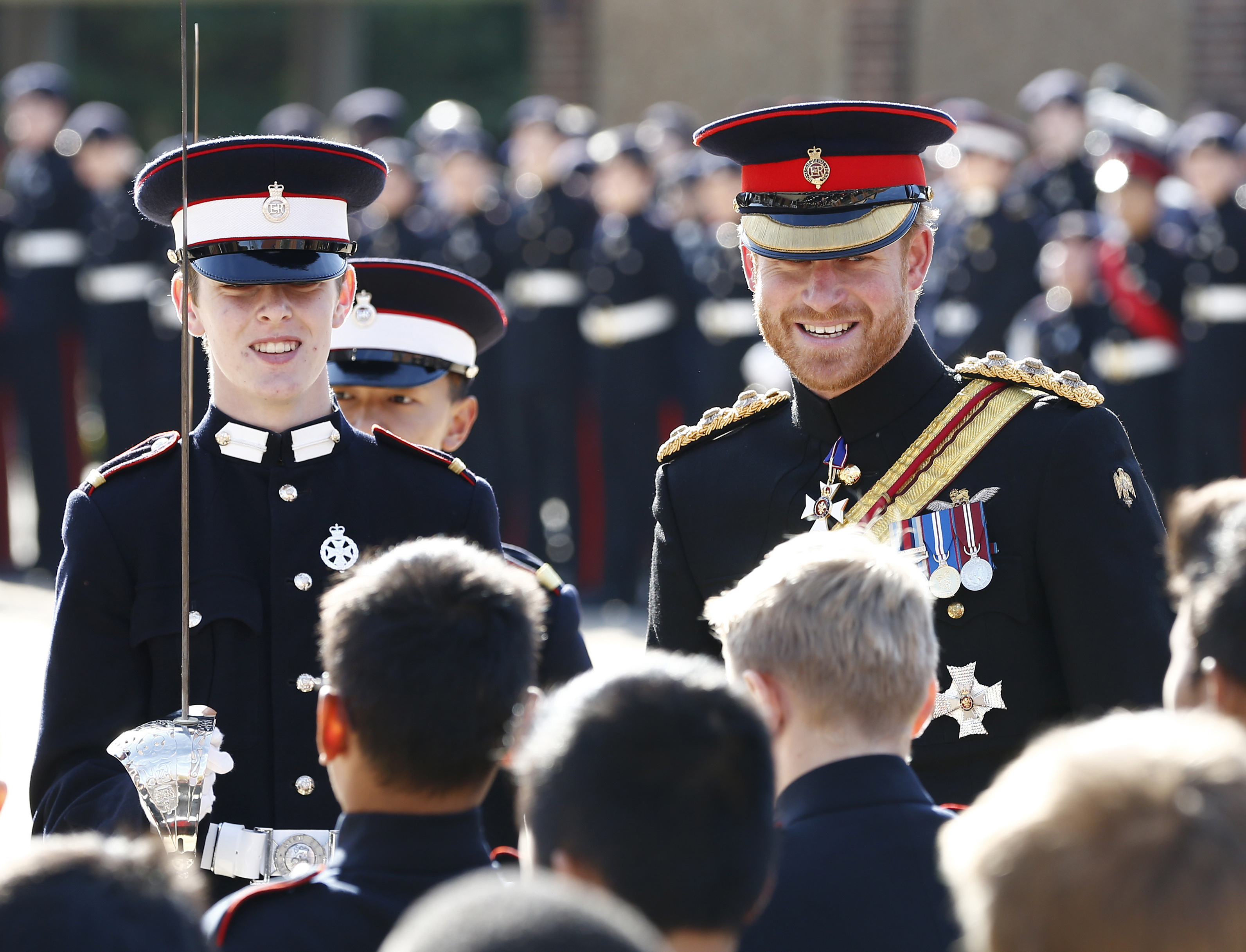 prince harry wears blue and royals regiment uniform for