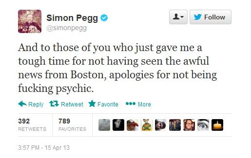 Simon Pegg Tweet
