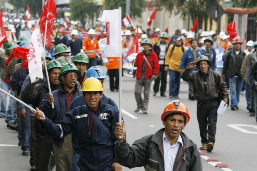 Freeport mine workers march in Lima during a strike for higher pay.