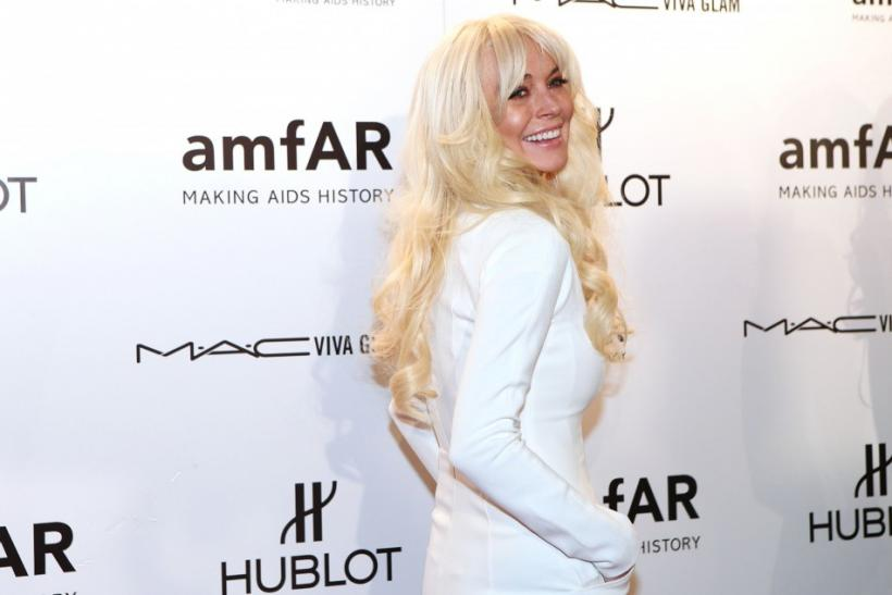 Lindsay Lohan amfAR Red Carpet in New York