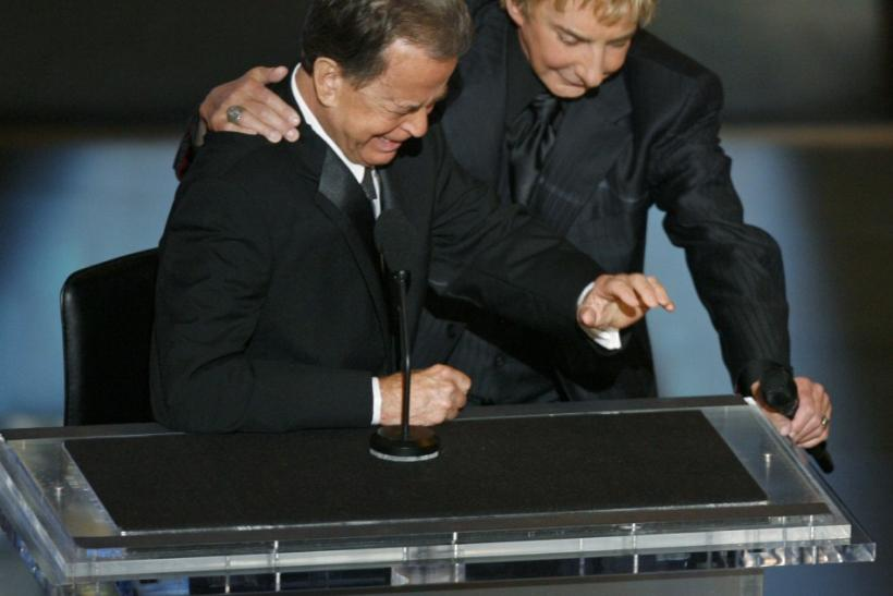 Dick Clark, with Barry Manilow, Overcome With Emotion During Emmys Tribute