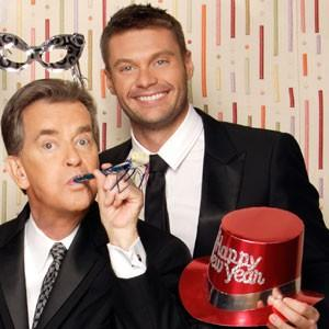 "Dick Clark with ""Rockin' Eve"" co-host Ryan Seacrest"
