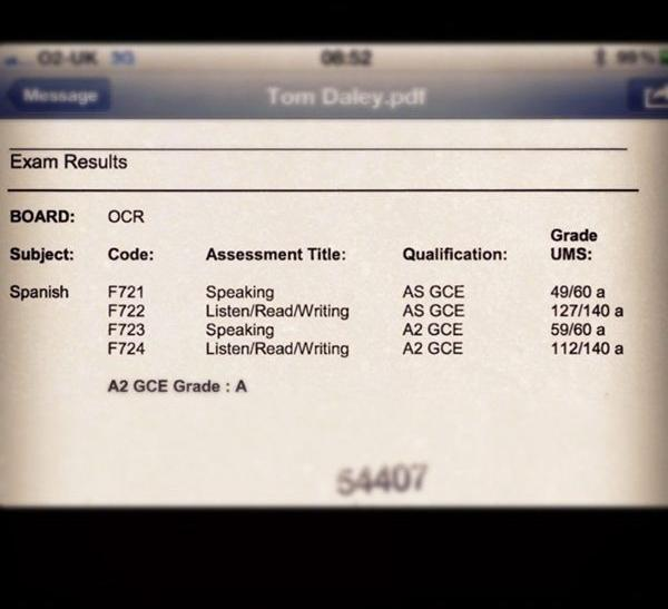 Tom Daley 's grades