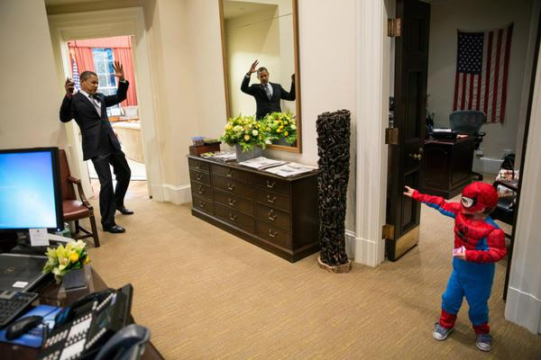 President Obama Gets Caught By Spiderman