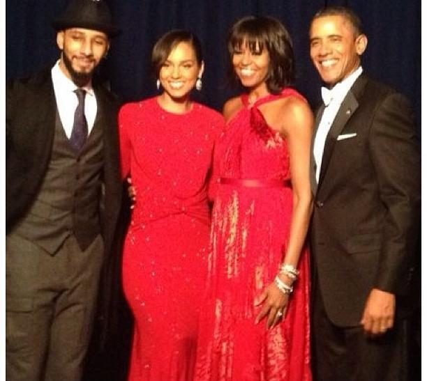 The Obamas, Swizz Beatz, and Alicia Keys