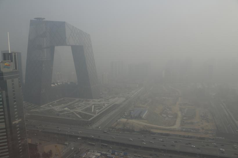 China's CCTV building, enveloped in smog
