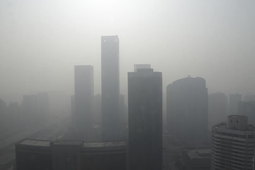 A hazy view of Beijing's skyline