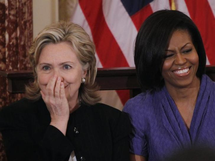 Clinton And Michelle Obama, March 10, 2010