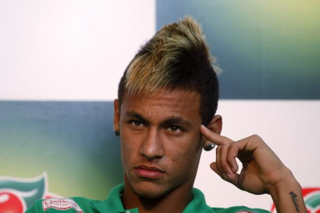 Neymar has a hairstyle of a Mohawk for his curly straightened hair
