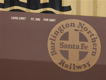 Burlington Northern Santa Fe logo is seen on a train in Cicero