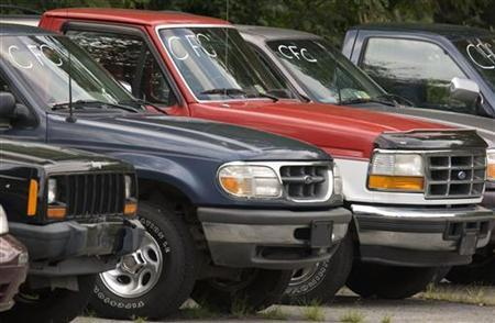 Cash-for-Clunkers program used cars sit on Ted Britt Ford dealership storage area in Virginia
