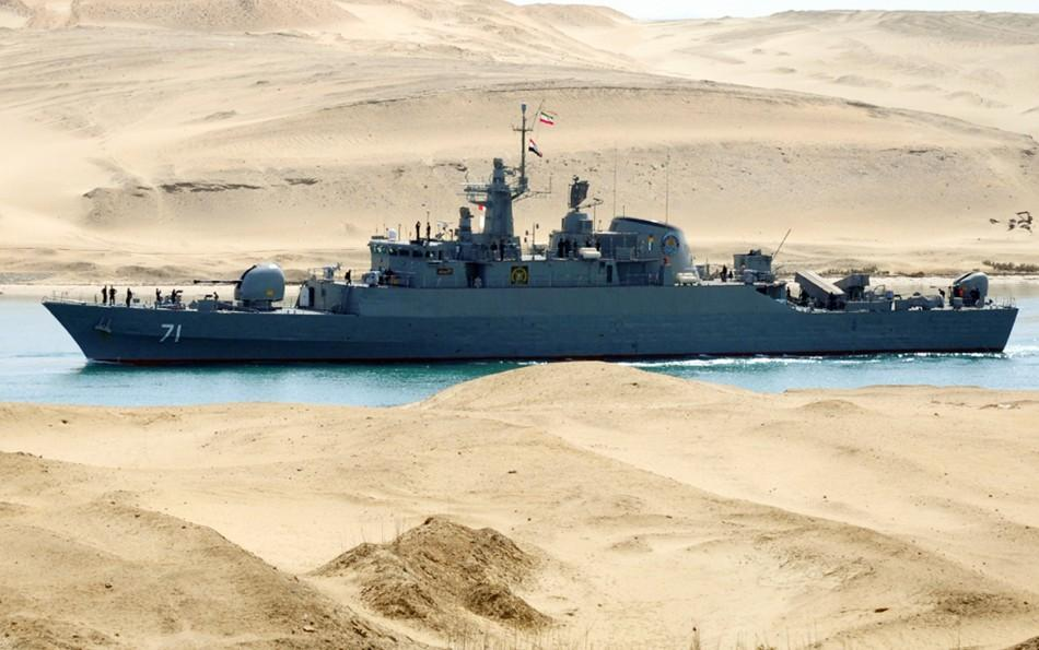 An Iranian naval ship travels through the Suez Canal near Ismailia