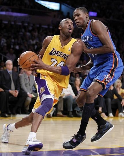 Kevin Durant and Kobe Bryant will battle in Oklahoma City on Sunday