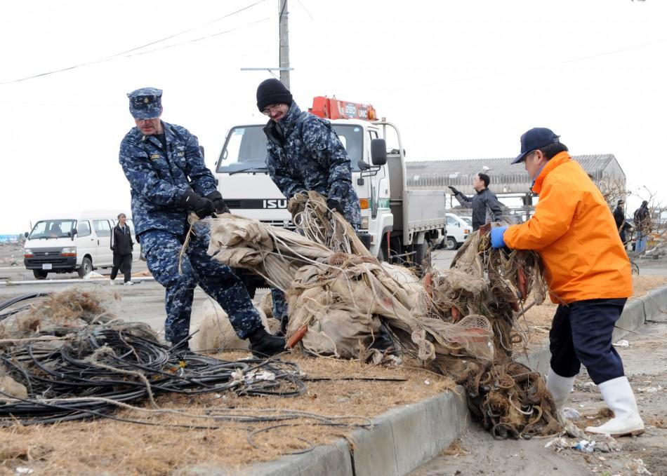 Helping Misawa residents salvage fishing nets
