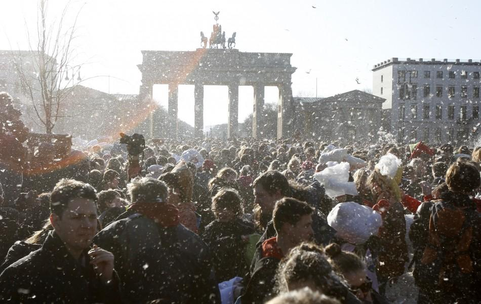 People attend flashmob pillow fight at Brandenburger Tor in Berlin