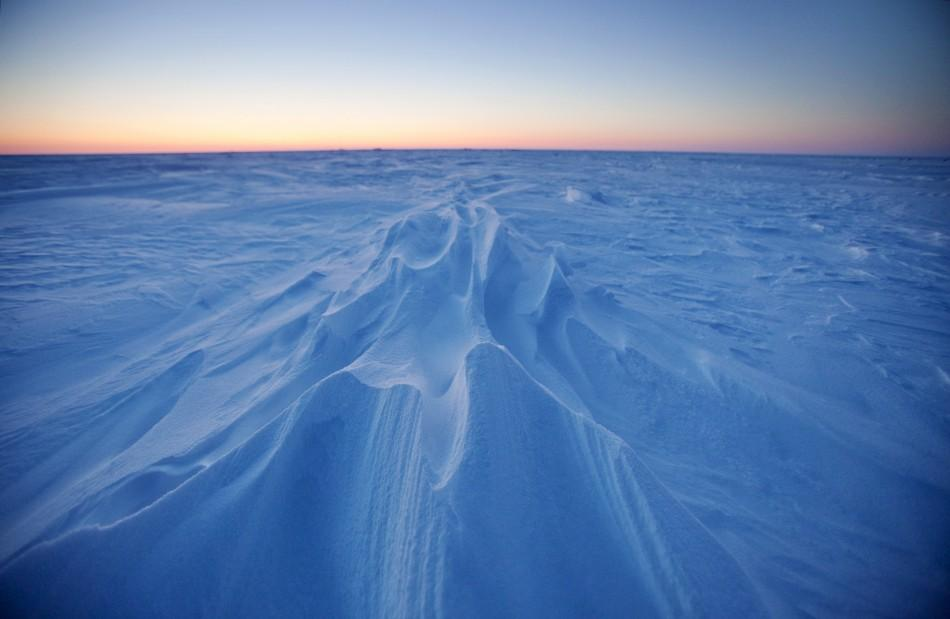 Wind patterns are left in the ice pack that covers the Arctic Ocean north of Prudhoe Bay, Alaska