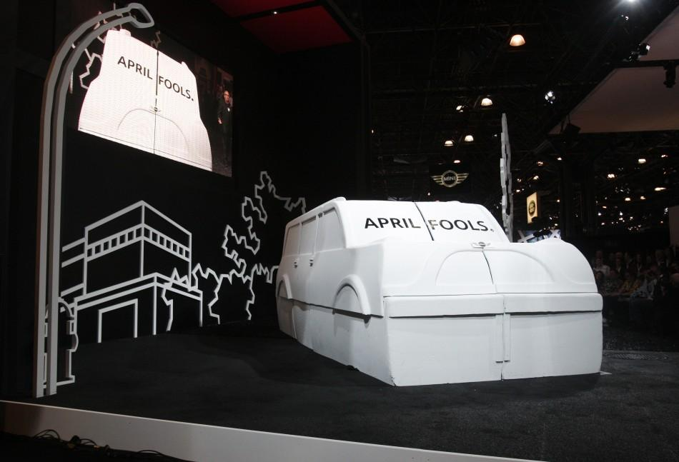 Mini unveils an April Fools joke before unveiling their new Mini Countryman car at the New York International Auto Show in New York