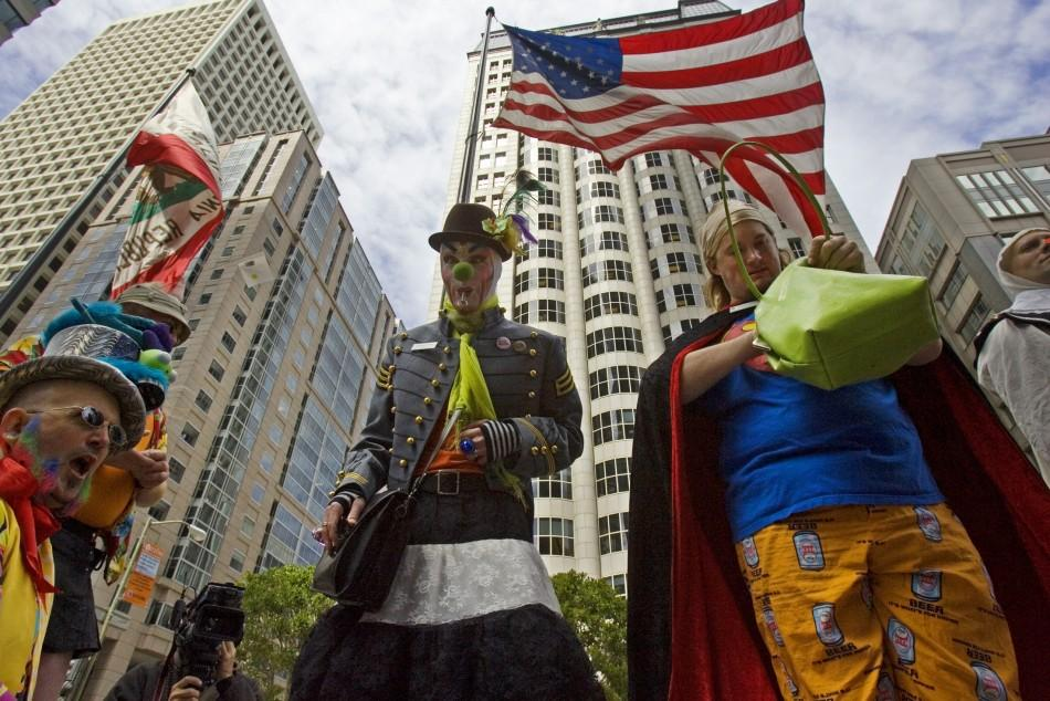 Members of First Church of Last Laugh march in 30th Annual St. Stupid's Day Parade down streets of financial district