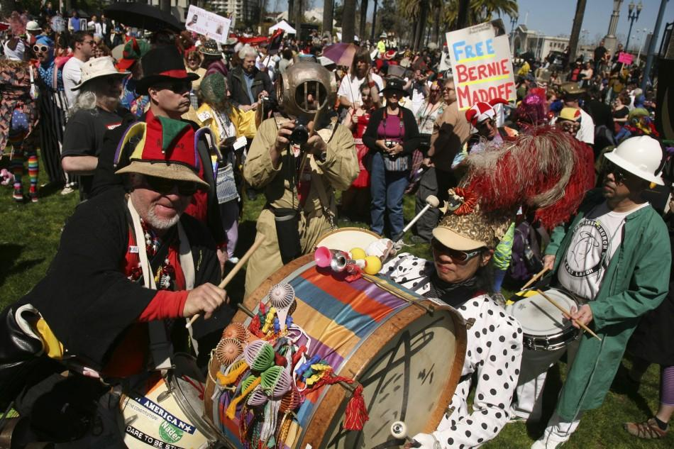 Members of the marching band make their way to the financial district during the First Church of the Last Laugh's 31st annual St. Stupid's Day Parade on April Fool's Day in San Francisco