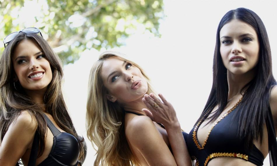 Ambrosio, Swanepoel and Lima pose during a media opportunity to celebrate the launch of the 2011 Victoria's Secret Swim collection in West Hollywood