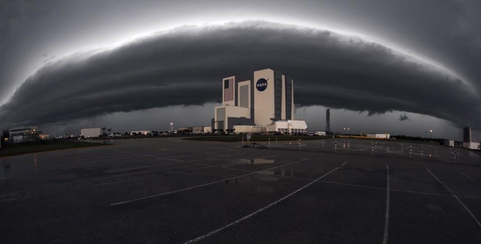 Severe weather moves in over the vehicle assembly building at the Kennedy Space Center in Cape Canaveral