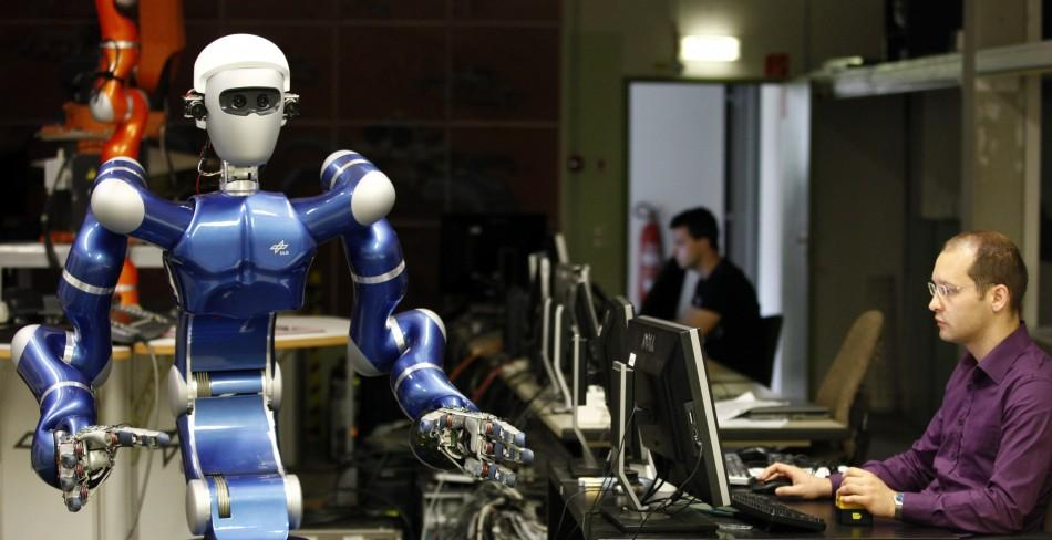 Robot Justin a humanoid two arm system developed by the German air and space agency DLR is presented in Oberpfaffenhofen