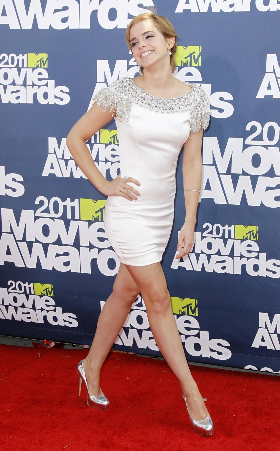 British actress Emma Watson arrives at the 2011 MTV Movie Awards in Los Angeles, June 5, 2011.