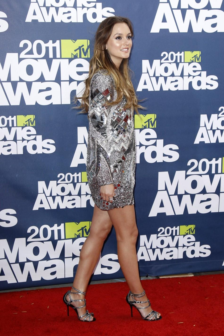 Actress Leighton Meester arrives at the 2011 MTV Movie Awards in Los Angeles, June 5, 2011.