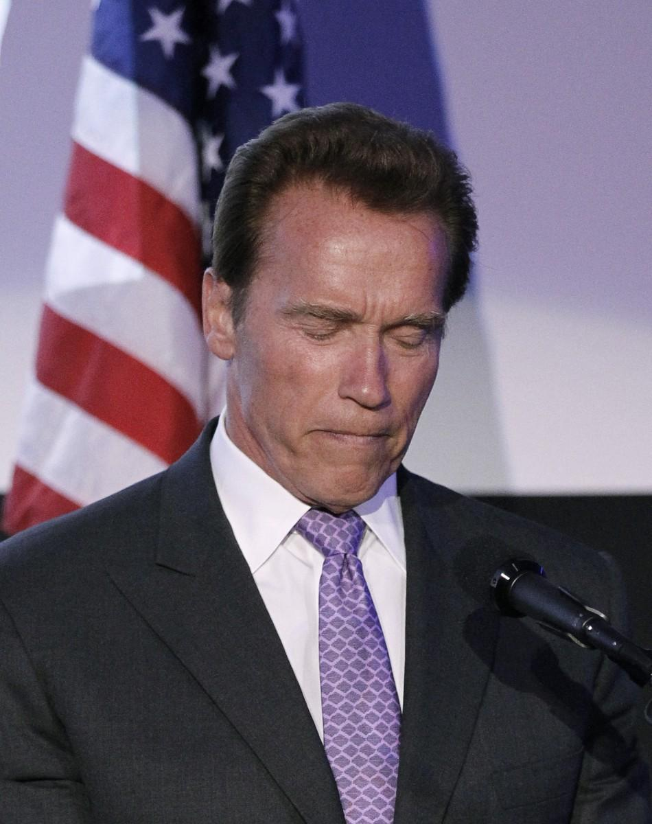 Former California Governor Arnold Schwarzenegger speaks after accepting an award during the 63rd Israel Independence Day Celebration at the Skirball Center in Los Angeles May 10, 2011.