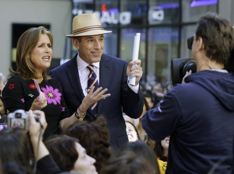 "Hosts of NBC's ""Today"" show Matt Lauer and Meredith Vieira (L) speak during the show in New York June 3, 2011."