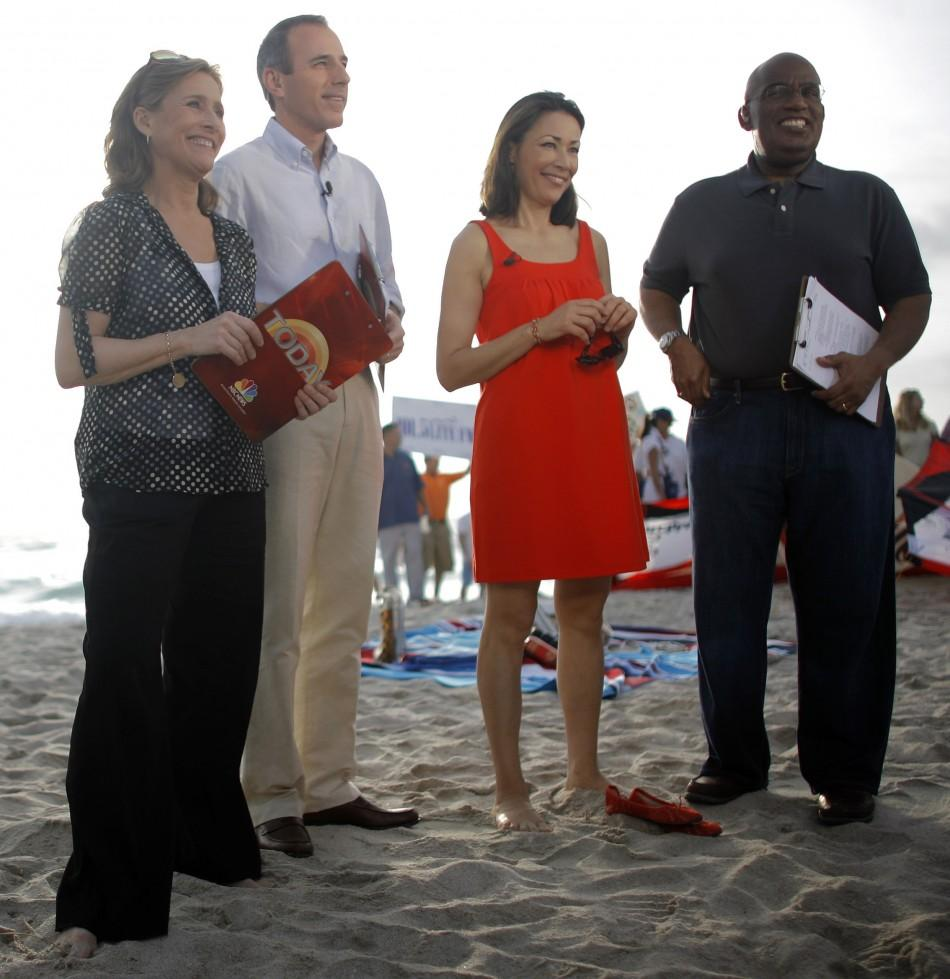 "NBC's ""Today"" show co-anchors Meredith Vieira, Matt Lauer, fourth hour co-anchor Ann Curry and weather reporter Al Roker stand on the beach during a live broadcast of the show in Miami Beach, Florida February 22, 2008."