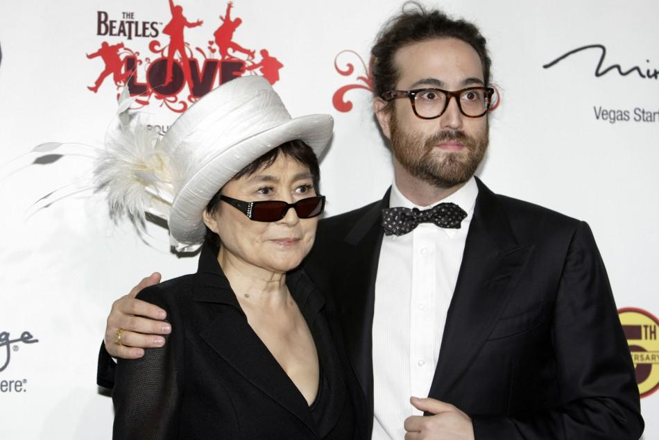 """Yoko Ono (L) and her son, recording artist Sean Lennon arrive for the fifth anniversary celebration of """"The Beatles LOVE by Cirque du Soleil"""" show at the Mirage Hotel and Casino in Las Vegas, Nevada June 8, 2011."""