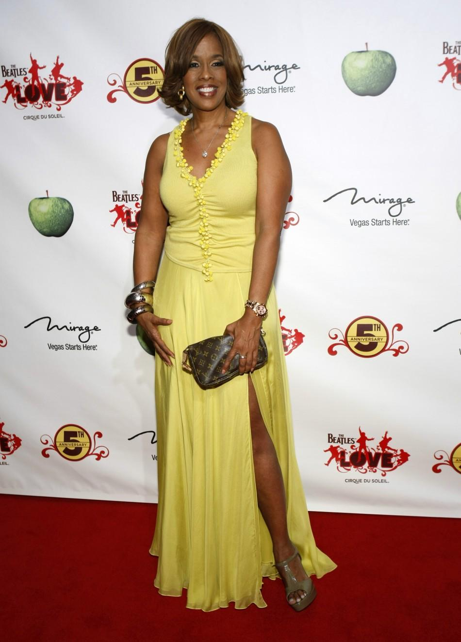 """Gayle King, editor-at-large of O, The Oprah Magazine, arrives for the fifth anniversary celebration of """"The Beatles LOVE by Cirque du Soleil"""" show at the Mirage Hotel and Casino in Las Vegas, Nevada June 8, 2011."""