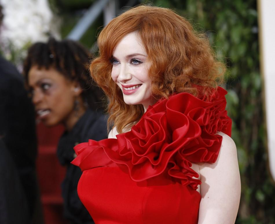 Actress Christina Hendricks arrives at the 68th annual Golden Globe Awards in Beverly Hills