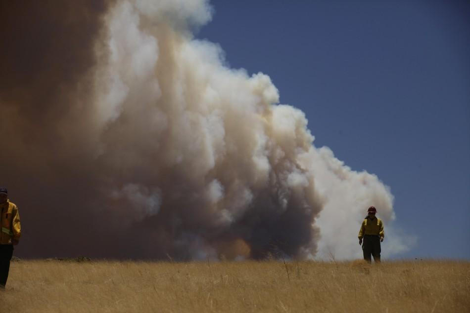Public Information Officer Theresa Mendoza walks through a field as smoke billows over the White Mountains from the Wallow Wildfire in Apache County, Arizona