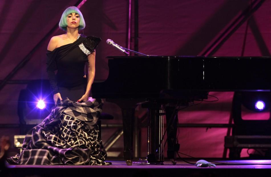 U.S. singer Lady Gaga performs during the gay pride concert in downtown Rome