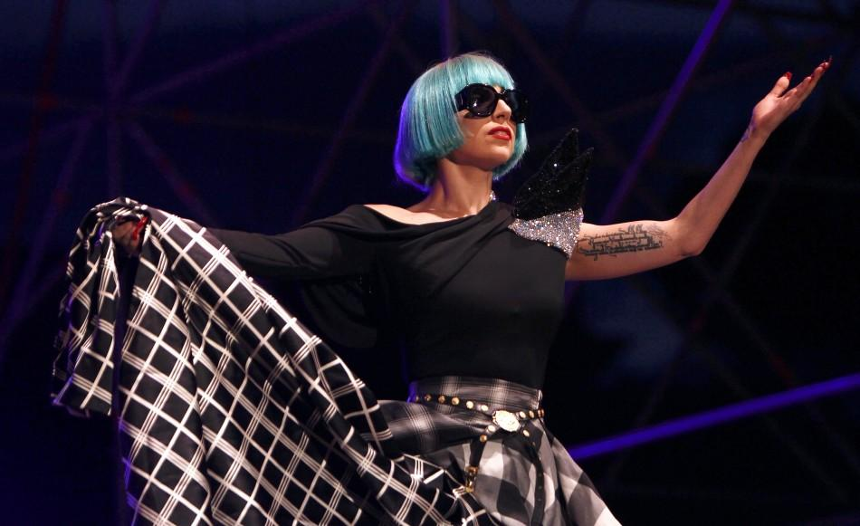 Lady Gaga performs concluding a gay rights march in Rome