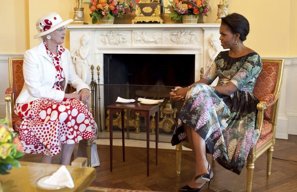 U.S. first lady Obama has coffee with Denmark's Queen Margrethe in the Yellow Oval Room of the White House in Washington