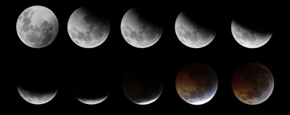 The gradual lunar eclipse ending with a total eclipse