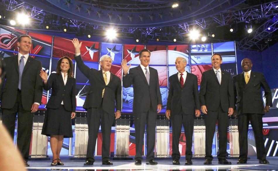 Republican presidential hopefuls (L-R) former U.S. Senator Rick Santorum (R-PA), U.S. Rep. Michelle Bachmann (R-MN), former Speaker of the U.S. House of Representatives Newt Gingrich (R-GA), former Massachusetts Governor Mitt Romney, U.S. Rep. Ron Paul (R