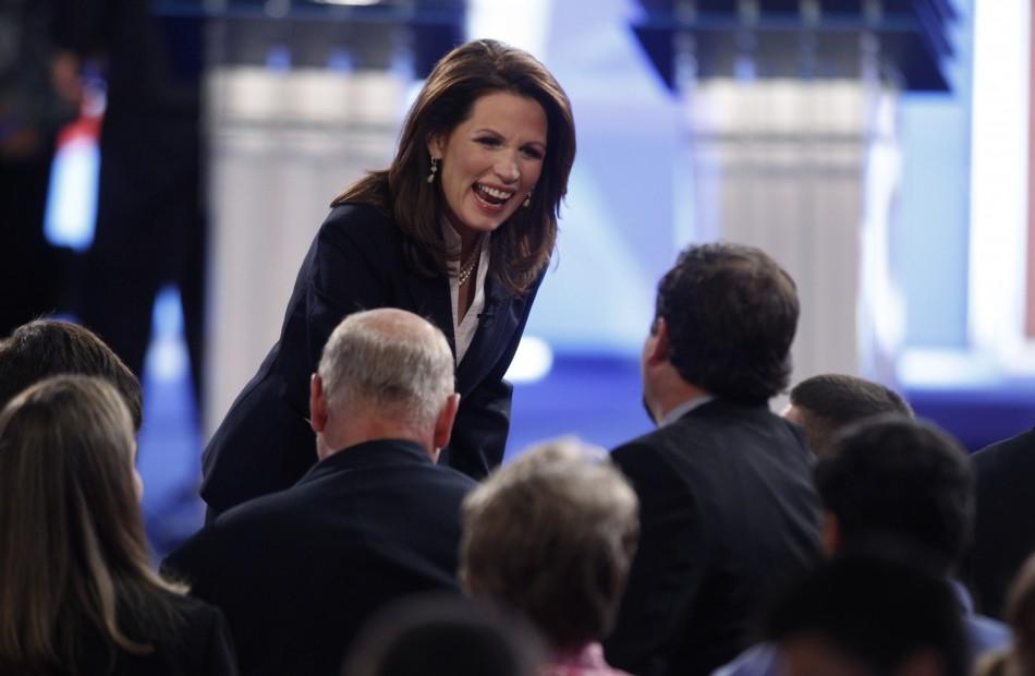 U.S. Rep. Bachmann talks to the audience after the end of the first New Hampshire debate of the 2012 campaign in Manchester
