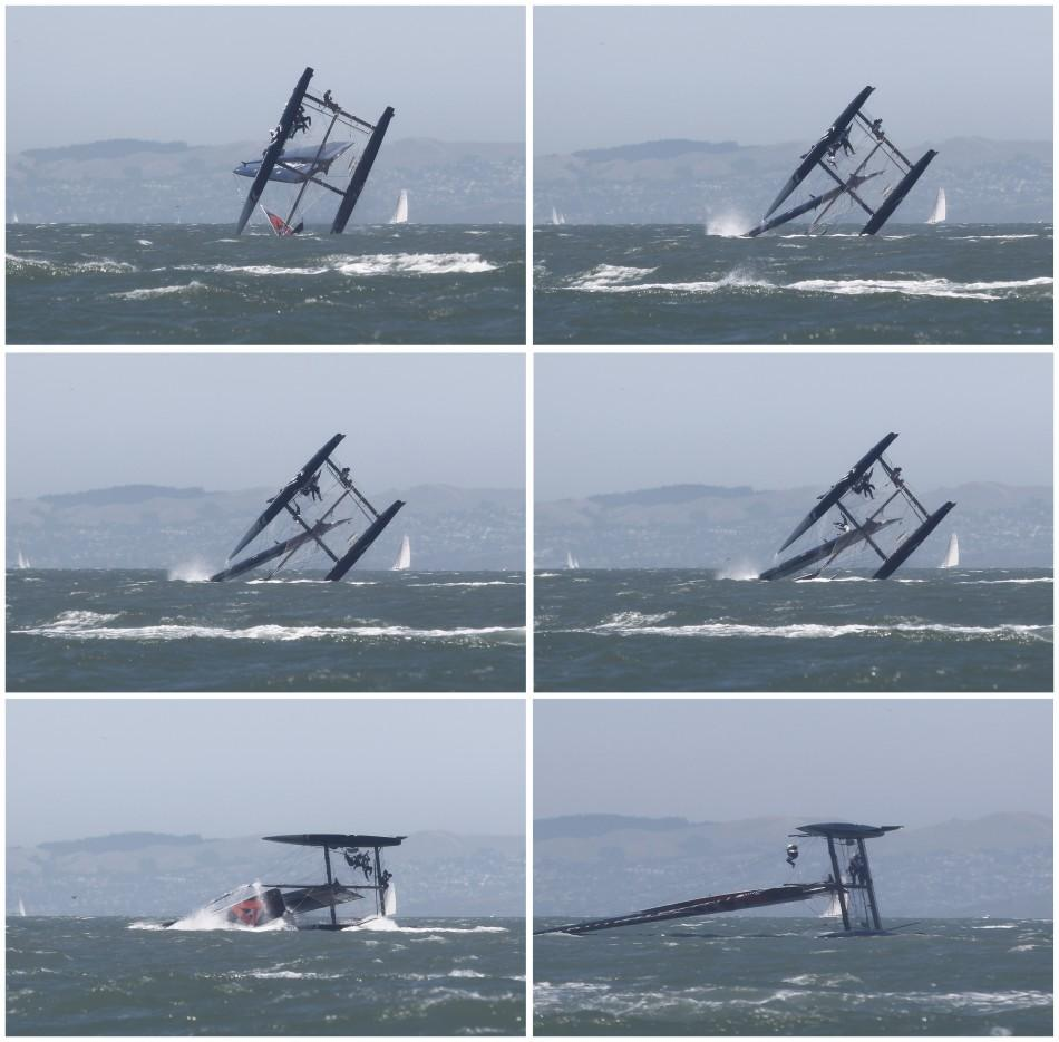 Combo photo shows Oracle Racing AC45 boat capsizing in San Francisco Bay