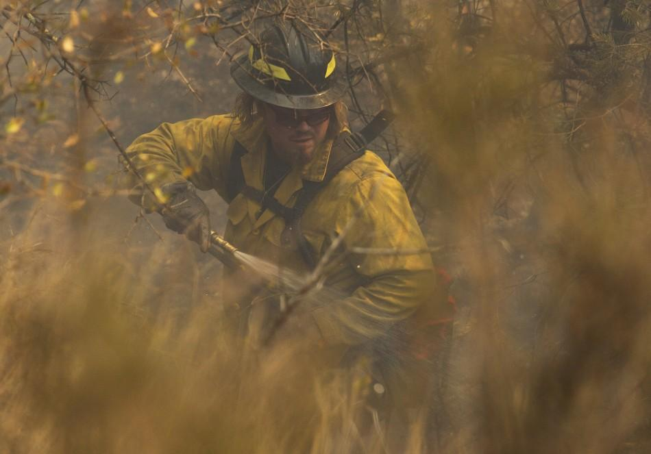 A wildland firefighter extinguishes a hot spot on the eastern edge of the Wallow Wildfire outside Alpine, Arizona
