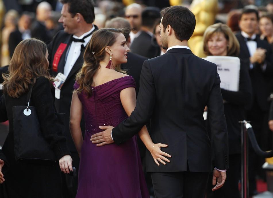 "Natalie Portman, best actress nominee for her role in ""Black Swan"", and her fiance Benjamin Millepied arrive at the 83rd Academy Awards in Hollywood, California, February 27, 2011."