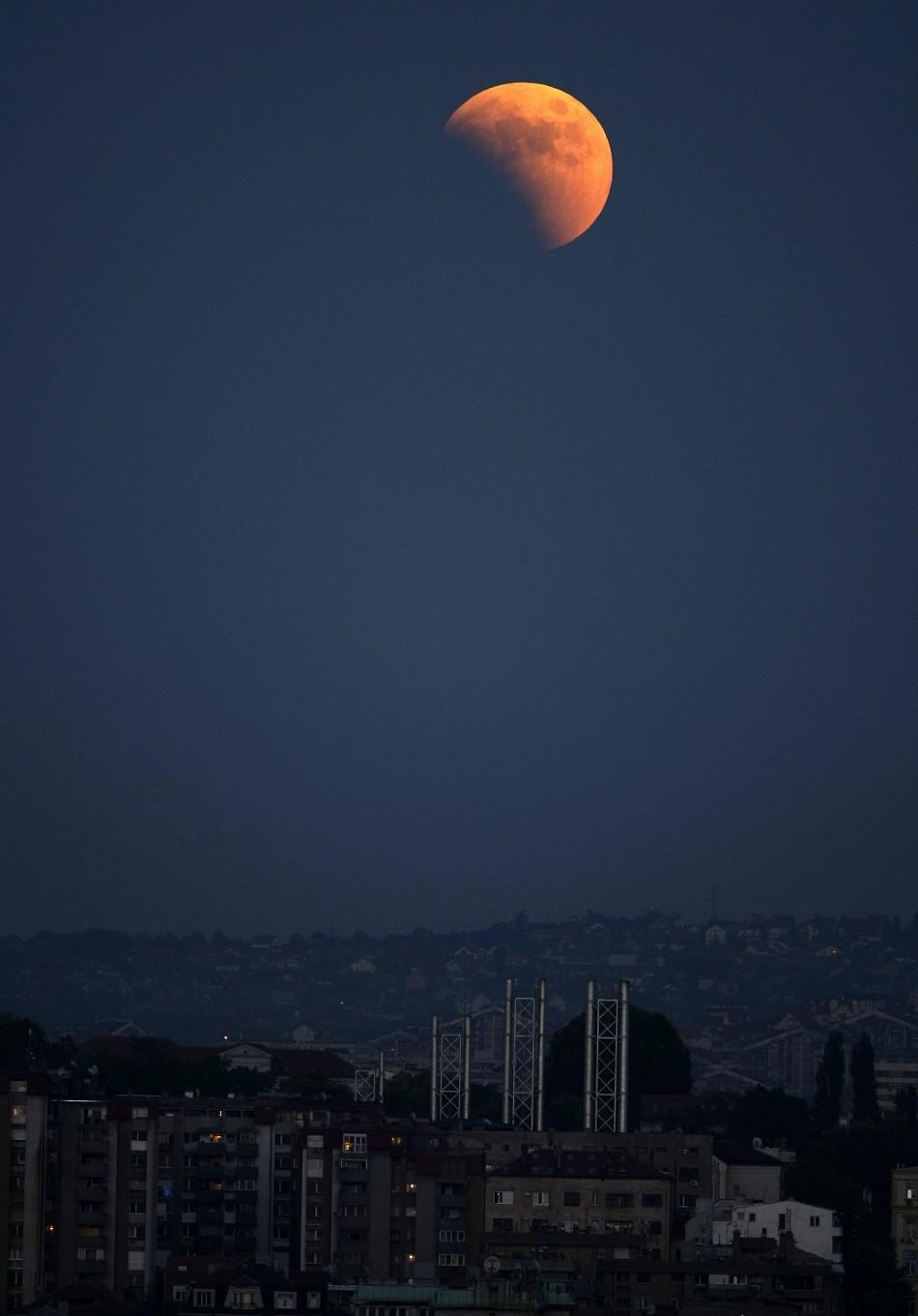 A partial lunar eclipse is seen over the skies of Belgrade