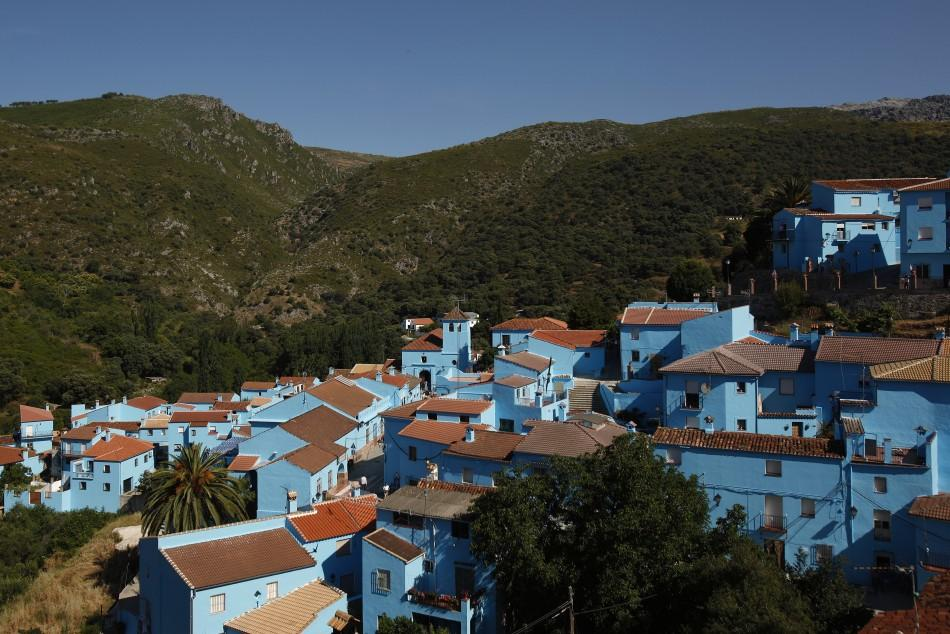 A general view of the village of Juzcar during a promotional event in the Andalusian village of Juzcar