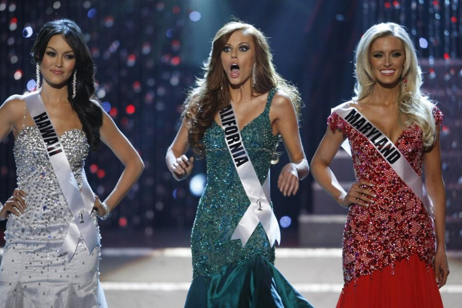 Miss California Alyssa Campanella reacts after making the final four at Miss USA 2011
