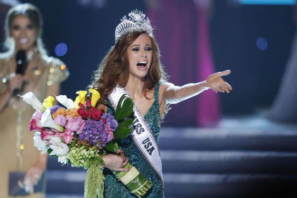 Miss California Campanella reacts after being crowned Miss USA during the 2011 Miss USA pageant in Las Vegas