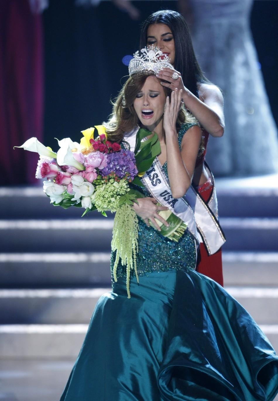 Miss California Campanella reacts as she is crowned Miss USA 2011 during the Miss USA pageant Las Vegas